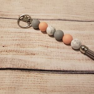 Silicone Beaded Pink Marble Keychain